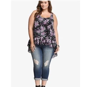 Torrid Floral Chiffon High Low Black Purple Tank